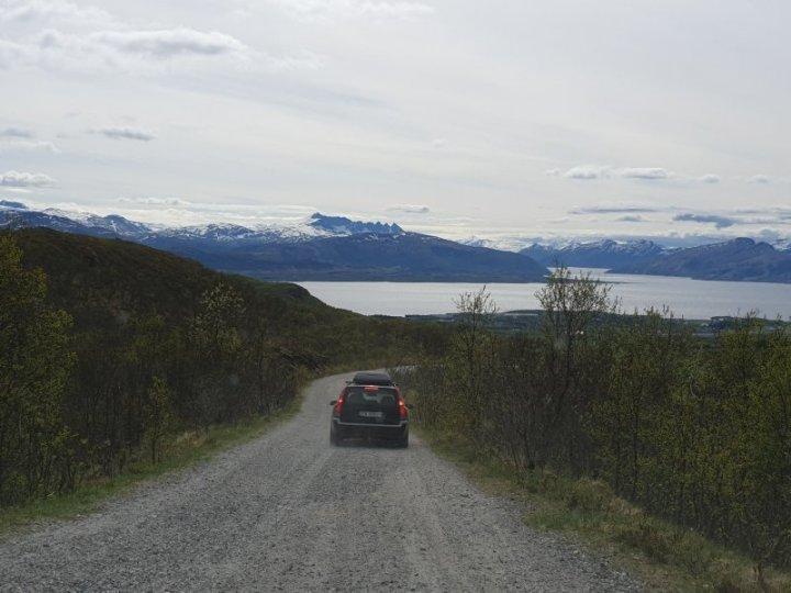 Heading down the hill toward Bodo Norway