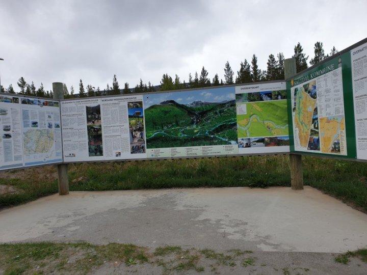 Detailed visitor information boards at the Saltfjellet–Svartisen Park