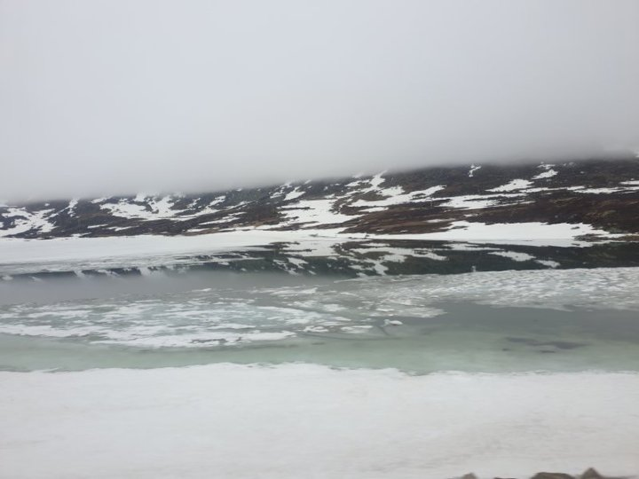 Iced lake melting in Norway