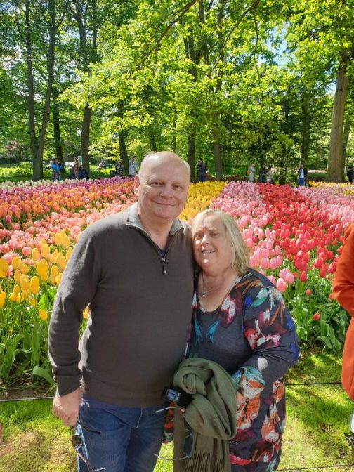 James and I loving the tulips and other flowers abundant here