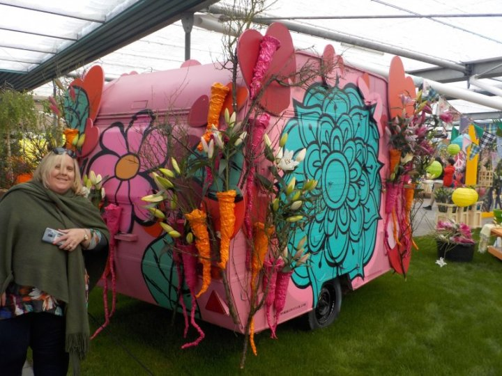 Keukenhof flower themed caravan