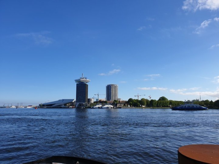 Looking across the Noordzeekanaal where ferries operate a non-stop free service.