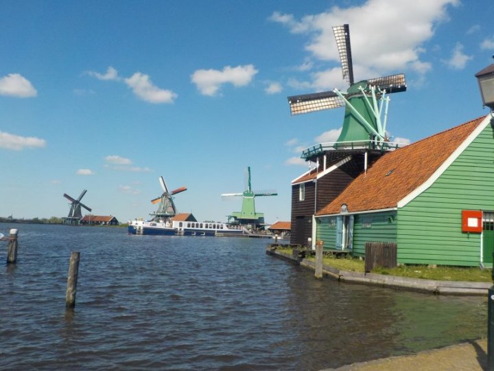 A lovely view of the windmills from the water.