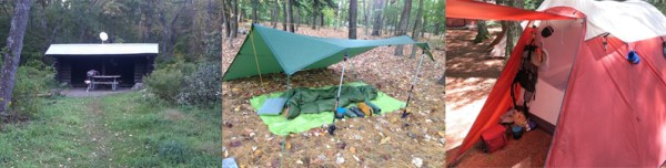 In order to start camping right, you need to decide on a form of shelter that's right for you.  Lean-to shelters are convenient and free, but often dirty or occupied. Tarps are light and inexpensive, but you might not be comfortable feeling so exposed.  There are a wide variety of tents available for all kinds of camping.
