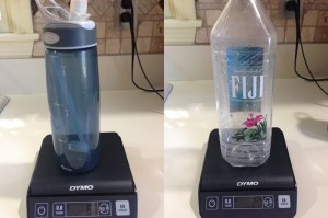 A 1.5 Liter Fiji Water Bottle weighs less than 1/3rd of a 1 Liter Camelbak bottle.