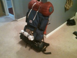 My dad's old external frame backpack, loaded up and ready to go.