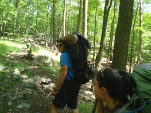 Hiking up the Nurian trail to Bald Rocks Shelter in Harriman State Park.
