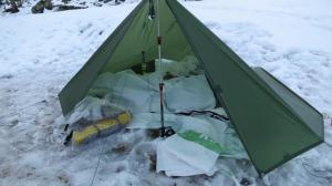 Believe it or not, the first time I used my backpacking tarp was in the winter.