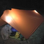 My backpacking tarp lit up by LuminAid Solar Inflatable Lanterns.