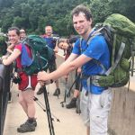 Hikers with a wide weight range for backpacking.