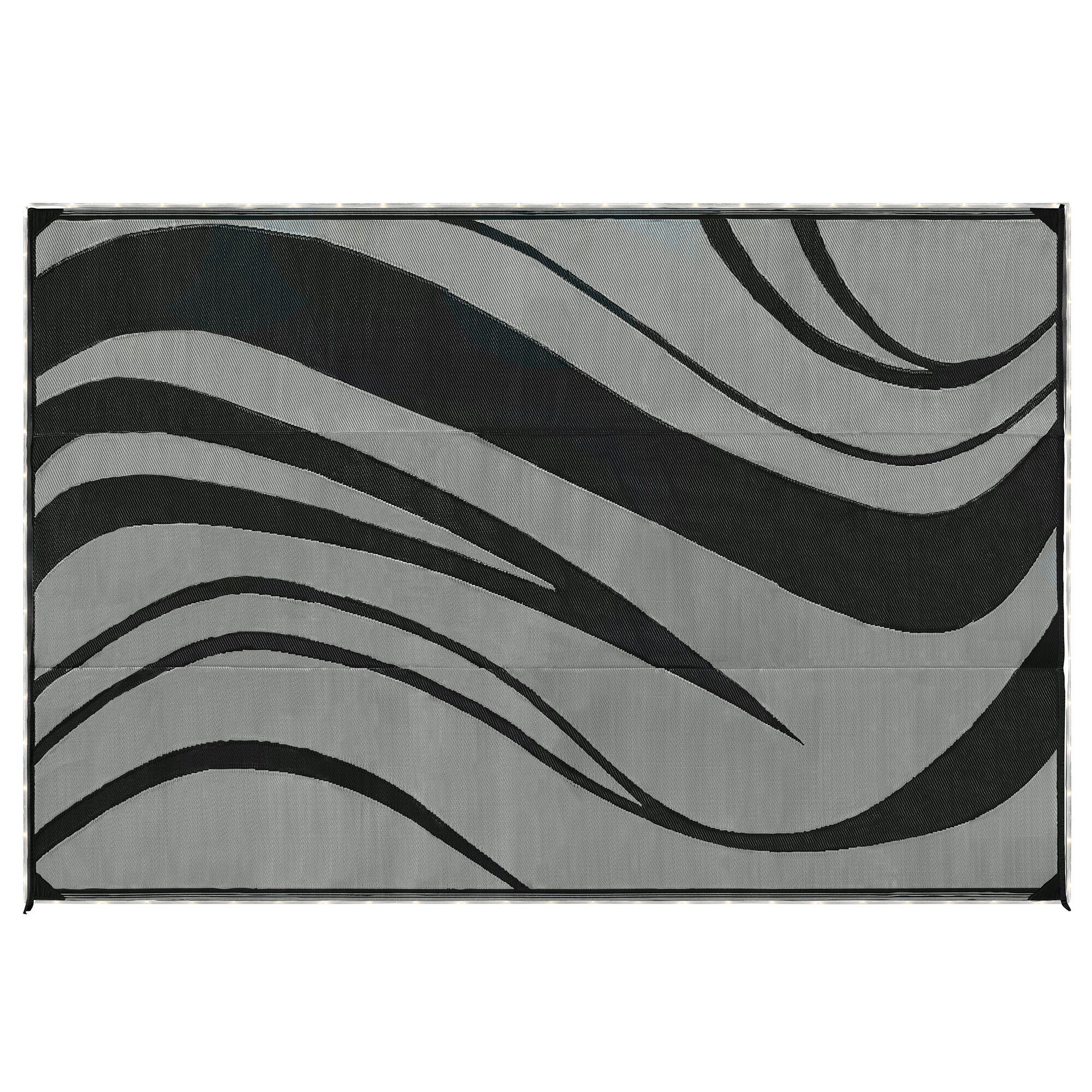 led illuminated patio mat with wave design 9 x 12