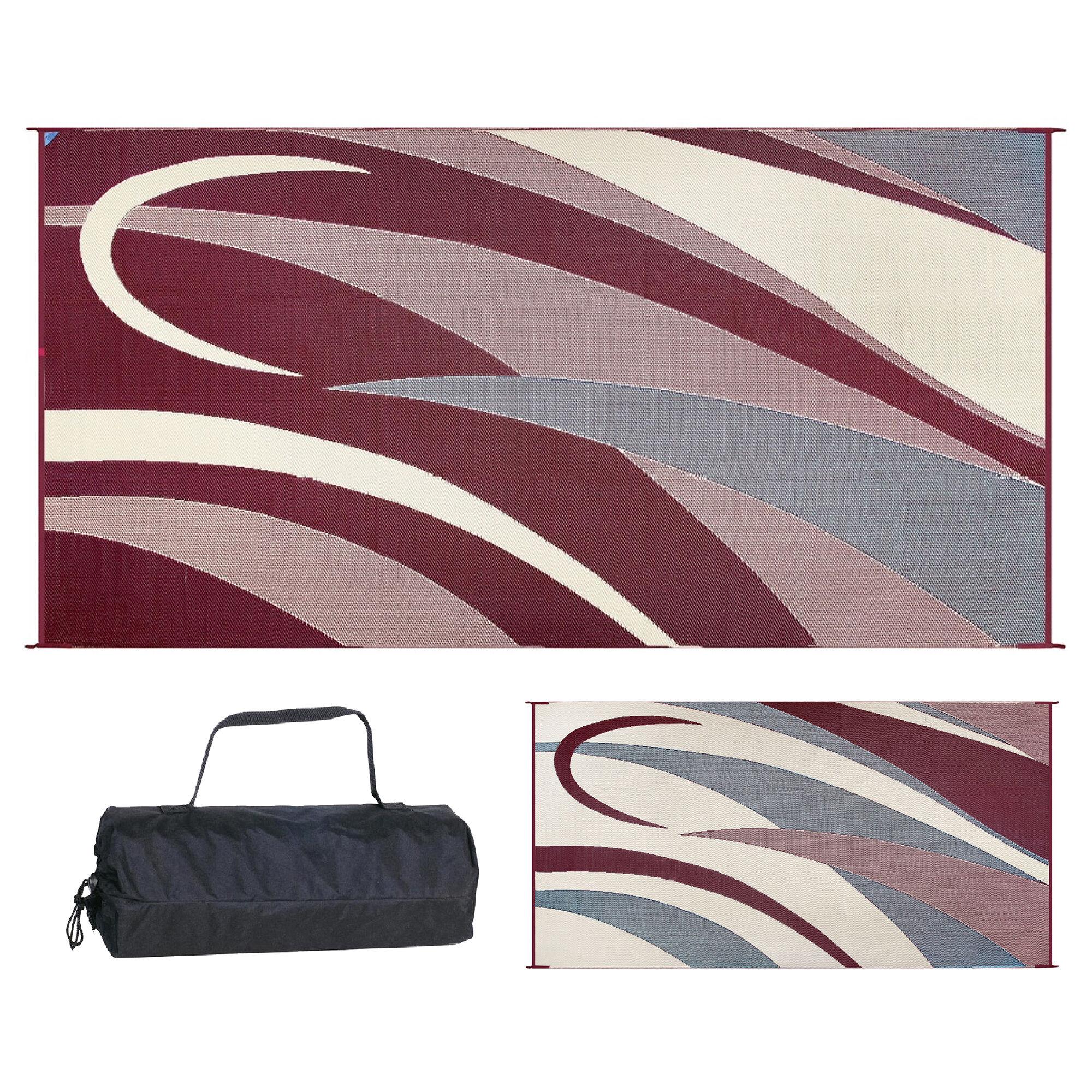reversible graphic design rv patio mat