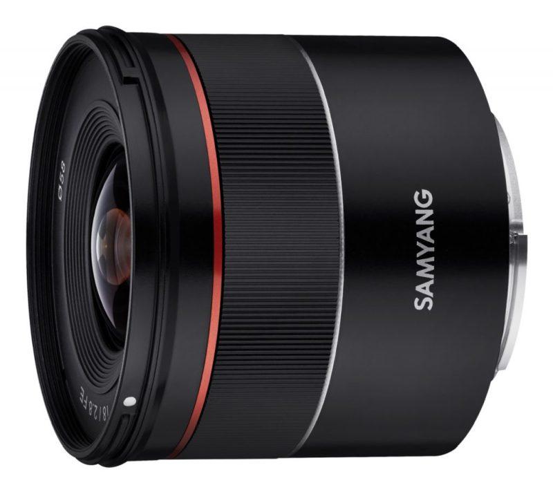 Samyang AF 18mm F2.8 FE Lens side angle scaled