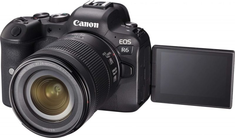 Canon R6 + 24-105 Lens side view with lcd scren flipped out