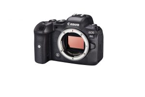 Canon R6 body front slanted camera on