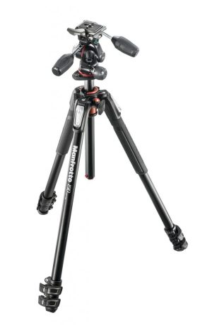 Manfrotto 190 kit - alu 3-section horiz. column tripod + 3 way head