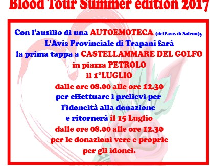 "[AVIS] Castellammare del G. –  Al via il  ""Blood Tour"" Summer edition 2017"