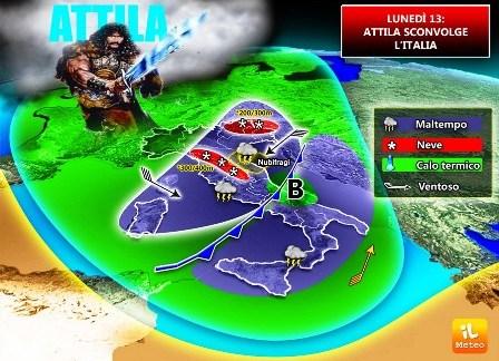 """[METEO] """"ATTILA"""" Lunedì 13, Italia sotto assedio, forte MALTEMPO [VIDEO]"""