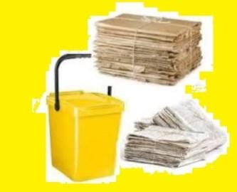 Contenitore giallo per la raccolta della carta