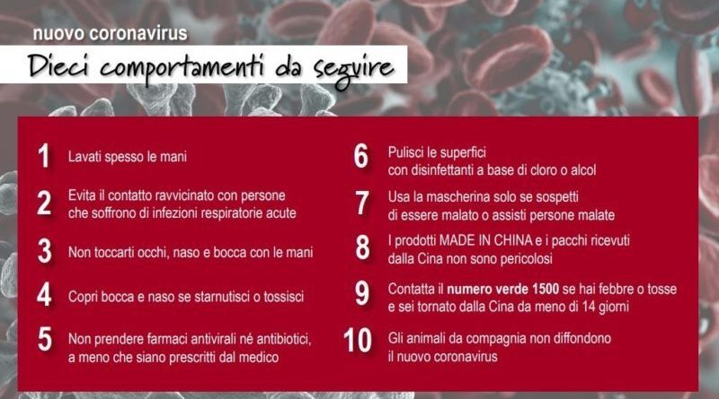 #Coronavirus: Dieci comportamenti da seguire