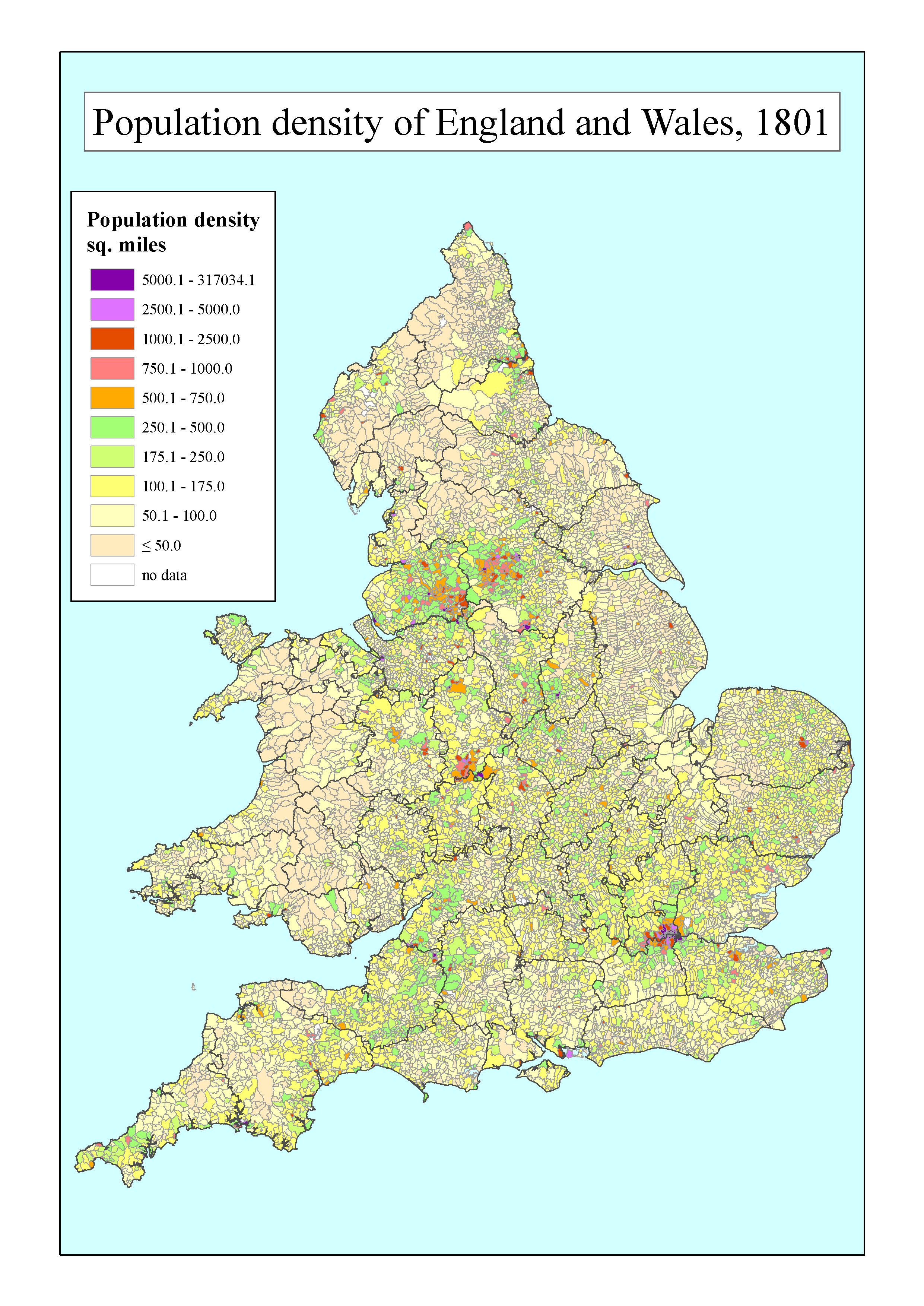 Population Density Map Of England And Wales