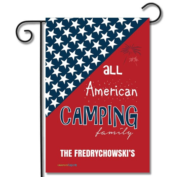 Personalized Camping Holiday Flag All American Camping Family