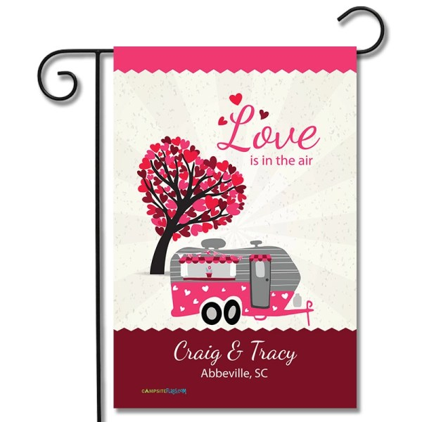 Personalized Valentines Day Flag Love Is In The Air Travel Trailer