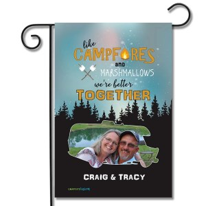 Personalized RV Camping Photo Flag Like Marshmallows and Campfires We Go Better Together Class C