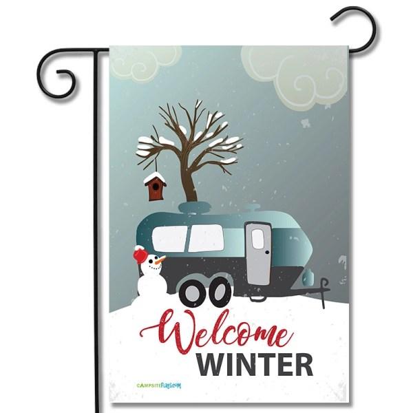 RV Campsite Flag Welcome Winter Travel Trailer