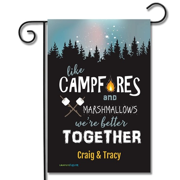 Personalized Campsite Flag Like Campfires And Marshmallows We're Better Together