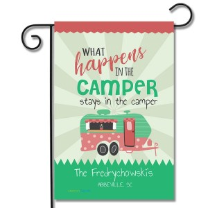 Personalized RV Campsite Flag What Happens In The Camper Stays In The Camper Travel Trailer