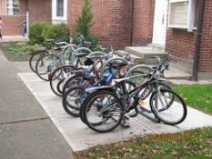 bicycles near a school photo