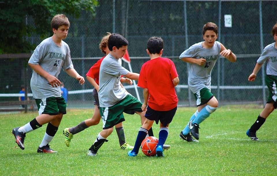 Soccer at Camp Takajo for Boys in Naples, Maine.