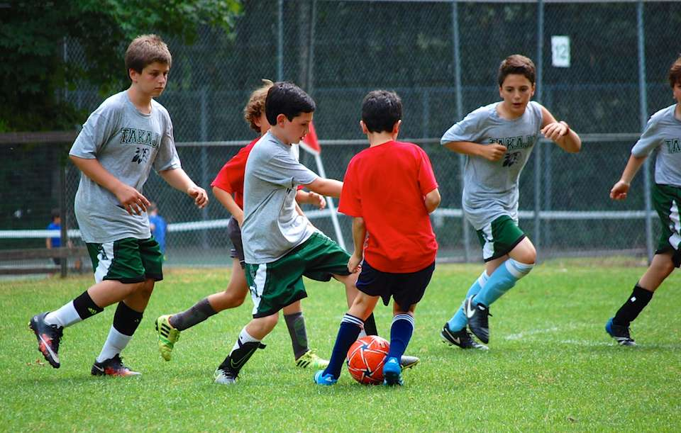 Soccer at Camp Takajo for Boys in Naples, Maine.