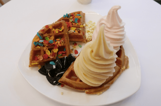 Hot Belgium Waffles with Two Scoops of Yogurt ($7.90, exclusive of toppings)