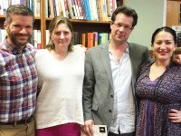 Acclaimed writers Matt Bell, Robin Block, Kevin Prufer, and Ada Limon pose for a picture following their reading Monday April 4 at Beaverdale Books during the 2016 Celebration of the Literary Arts Festival.