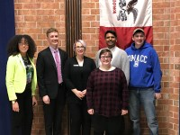 The LGBTQ+ and DMACC Democrats Club panel : Back: Reyma McCoy McDeid, Austin Frerick, Rep. Liz Bennett, Jerson  Valenzuela, Bailey Perkins.    Front: Arissa Jensen