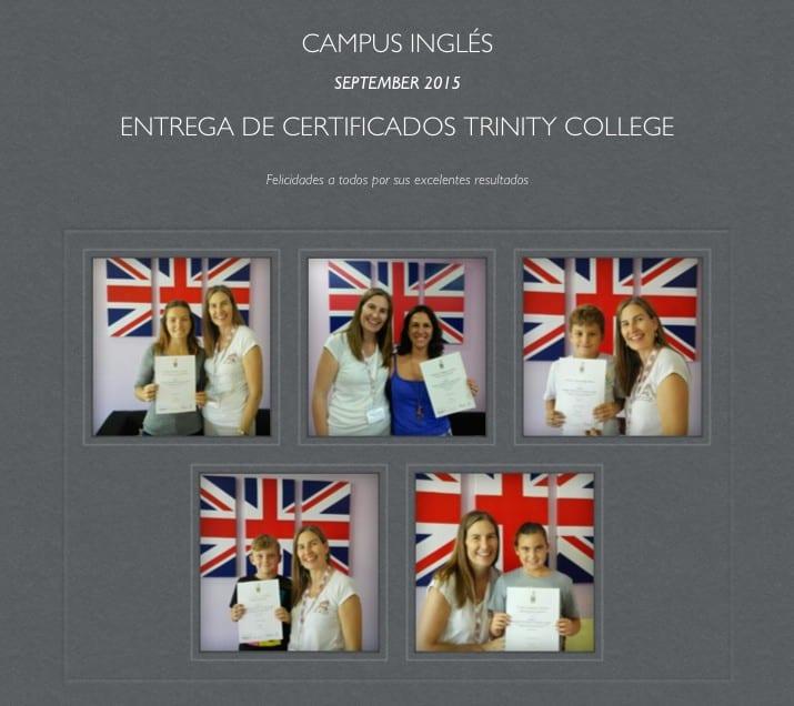 Entrega de certificados Trinity College London 2015
