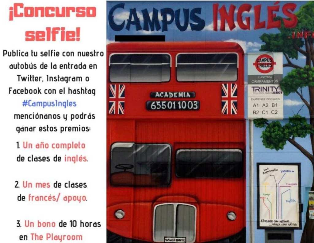 sorteo selfi con nuestro autobus - gana un año de clases de inglés presenciales