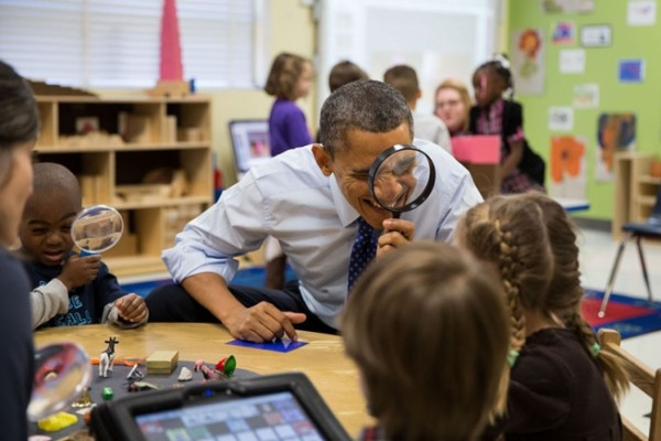 Obama at the Dumb and Deaf Preschool having Fun with Children