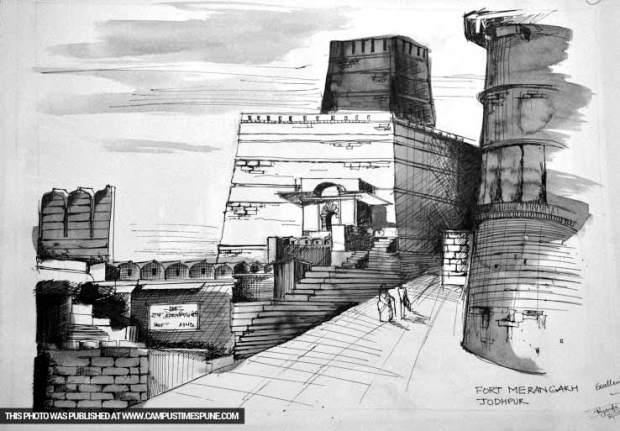 fort-merangarh-jodhpur-sketch