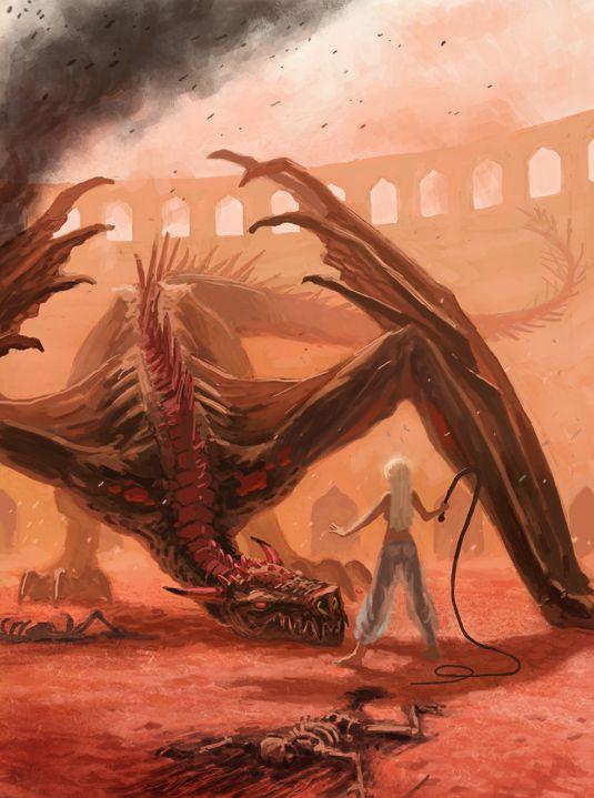 Daenerys-taming-Drogon-in-Daznaks-Pit