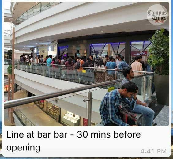 Crowd-outside-Punes-Bar-Bar-for-Lower-rate-alcohol