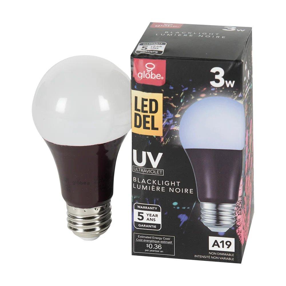 Ampoule Del A19 3 W Lumiere Noire Uv Globe Electrique Canac