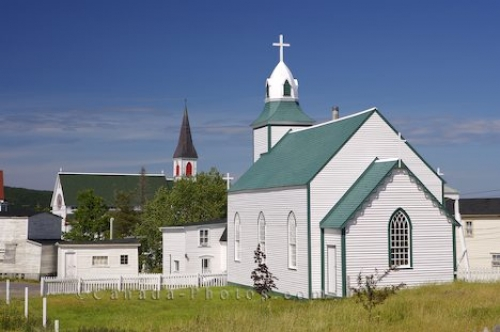 Picture of two historic churches in the town of Trinity in the Bonavista Peninsula in Newfoundland Labrador, Canada.