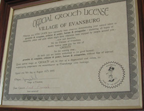 Evansburg Town Grouch Certificate
