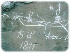 Petroglyph image of porpoise hunt by canoe © Parks Canada