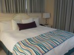 New curtains, bed scarf, bolster pillow, lamps