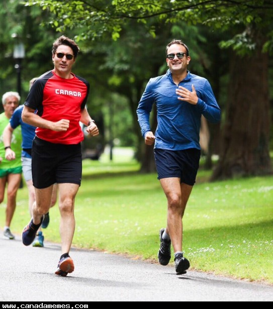 The Prime Ministers of Ireland and Canada going for a jog in Dublin