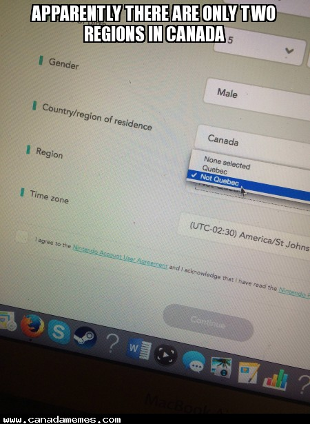 So apparently there are only two regions in Canada